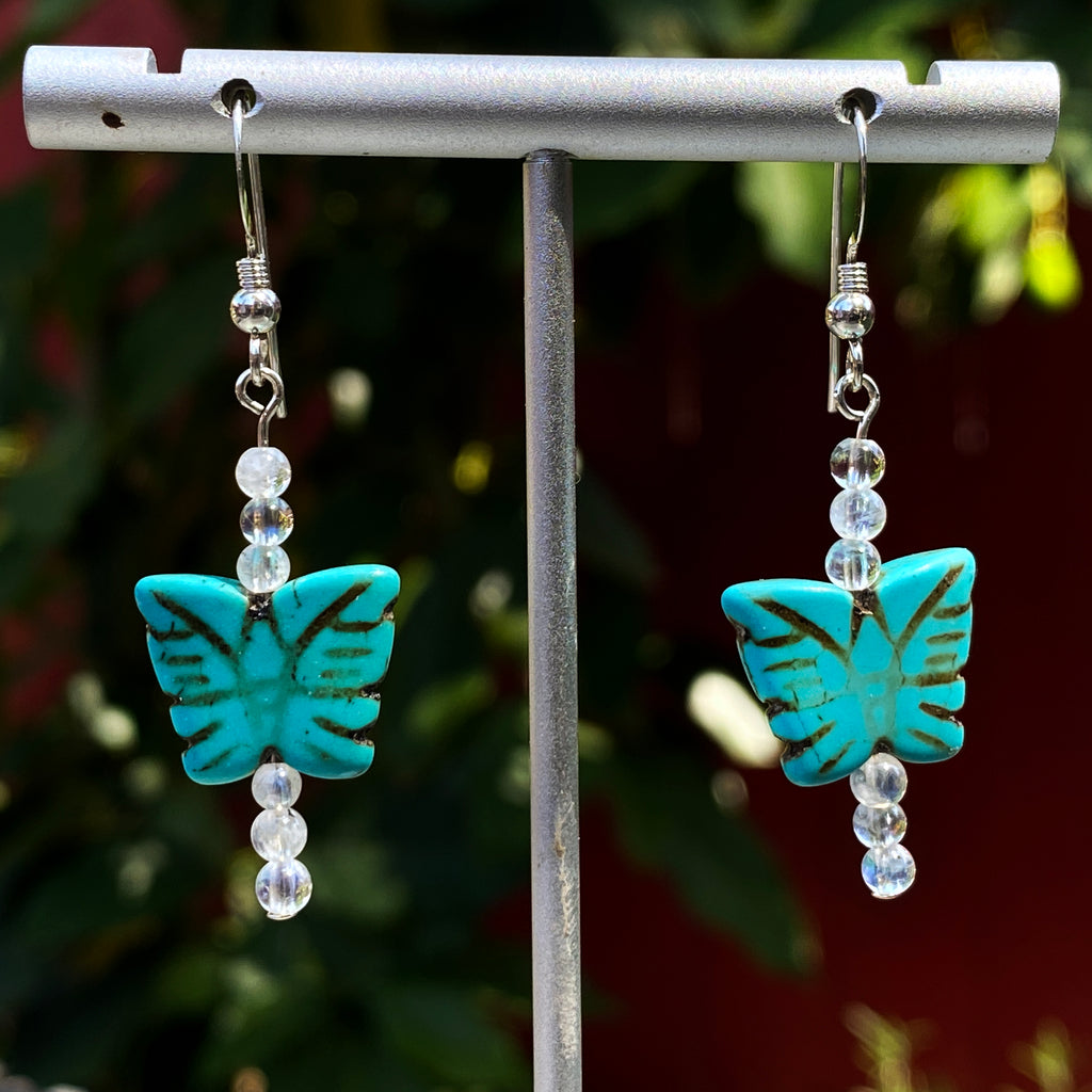 Women's Howlite Butterfly Earrings with Moonstones or Aquamarine Gemstones