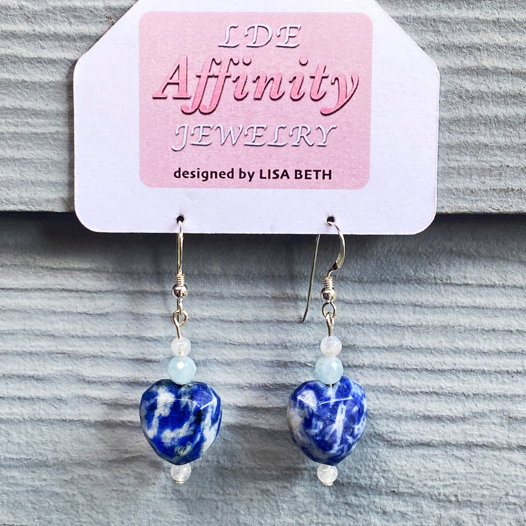 Blue spotted Sodalite heart, royal blue fresh water Pearls, and Moonstone Gemstone Earrings