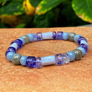 Men's blue Quartz, Agate, Labradorite & Angelite Gemstone bracelet