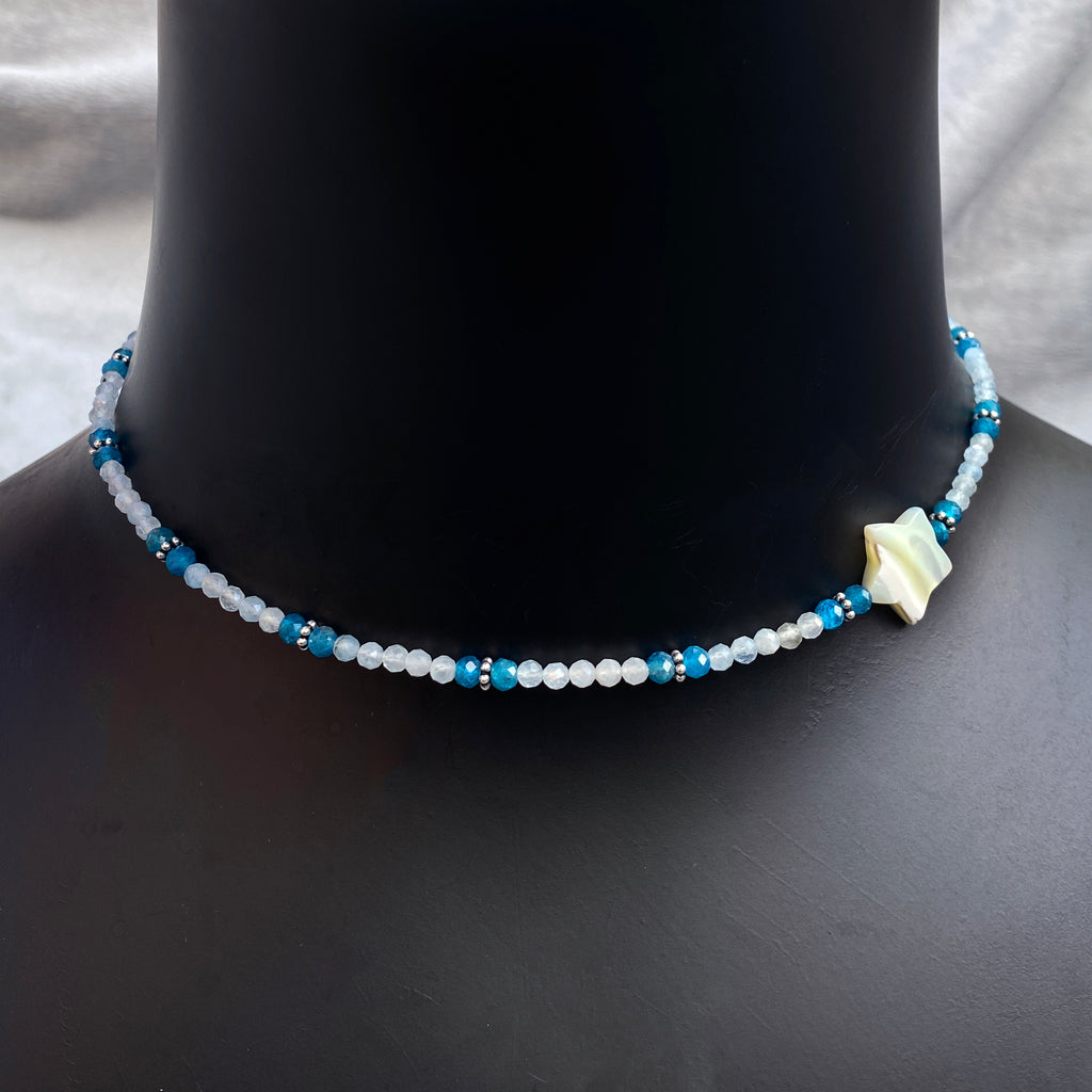 Women's Mother of Pearl Star Choker with Apatite, Aquamarine & sterling silver