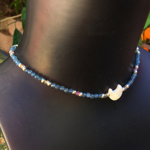 Women's Lapis Lazuli, Fluorite and Mother of Pearl Star Choker Necklace
