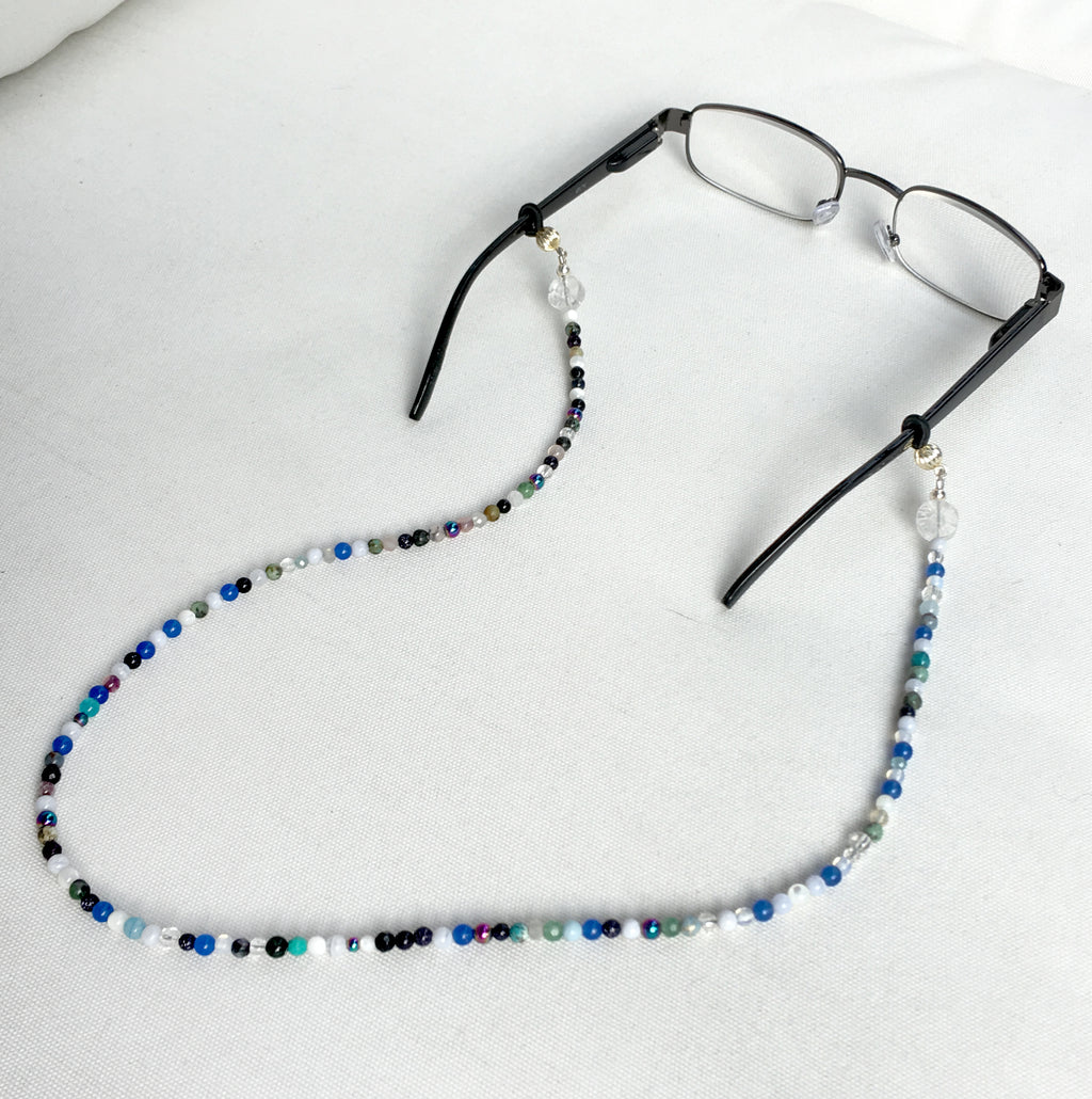 Onyx, Turquoise and Quartz Genuine Gemstone Eyeglass Keeper