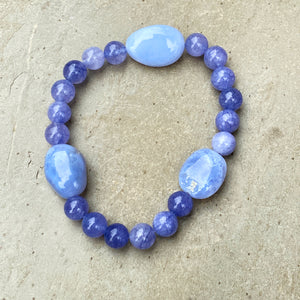 Men's Angelite & Blue Lace Agate Gemstone stretch bracelet