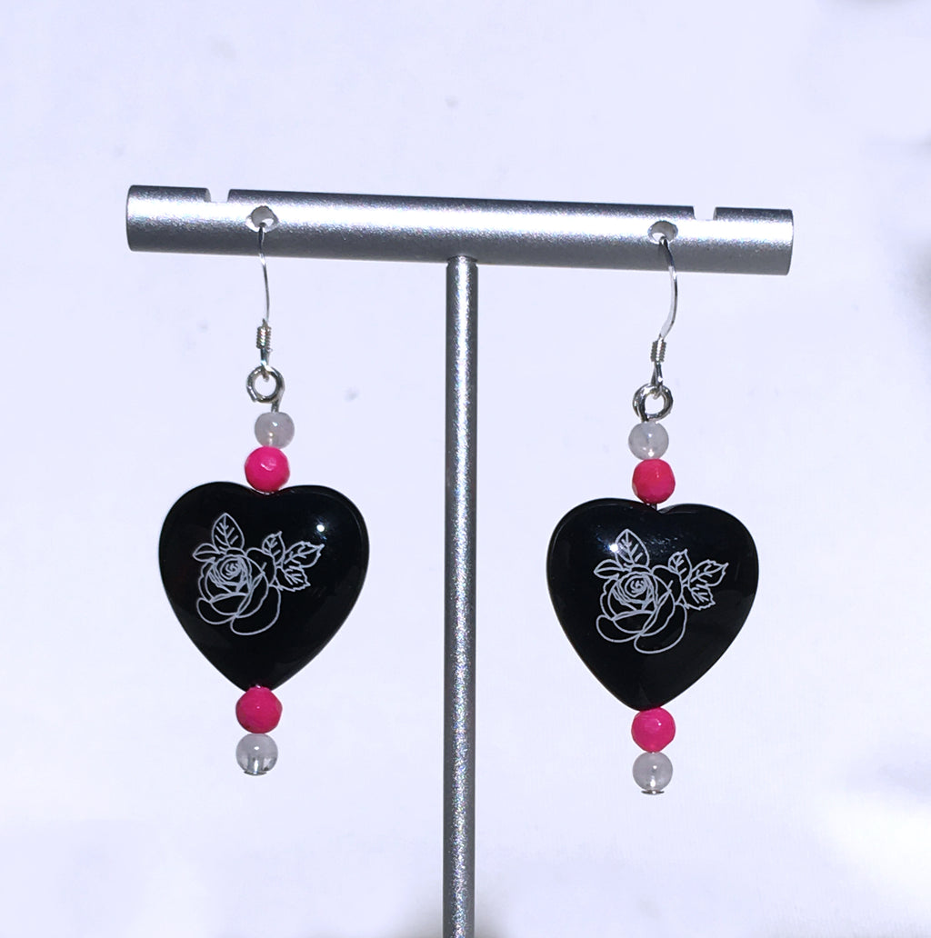 Women's painted flower Onyx Heart Earrings with Gemstones