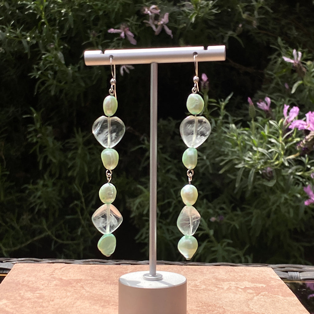 Genuine fresh water Pearls and Fluorite hearts on sterling silver Earrings