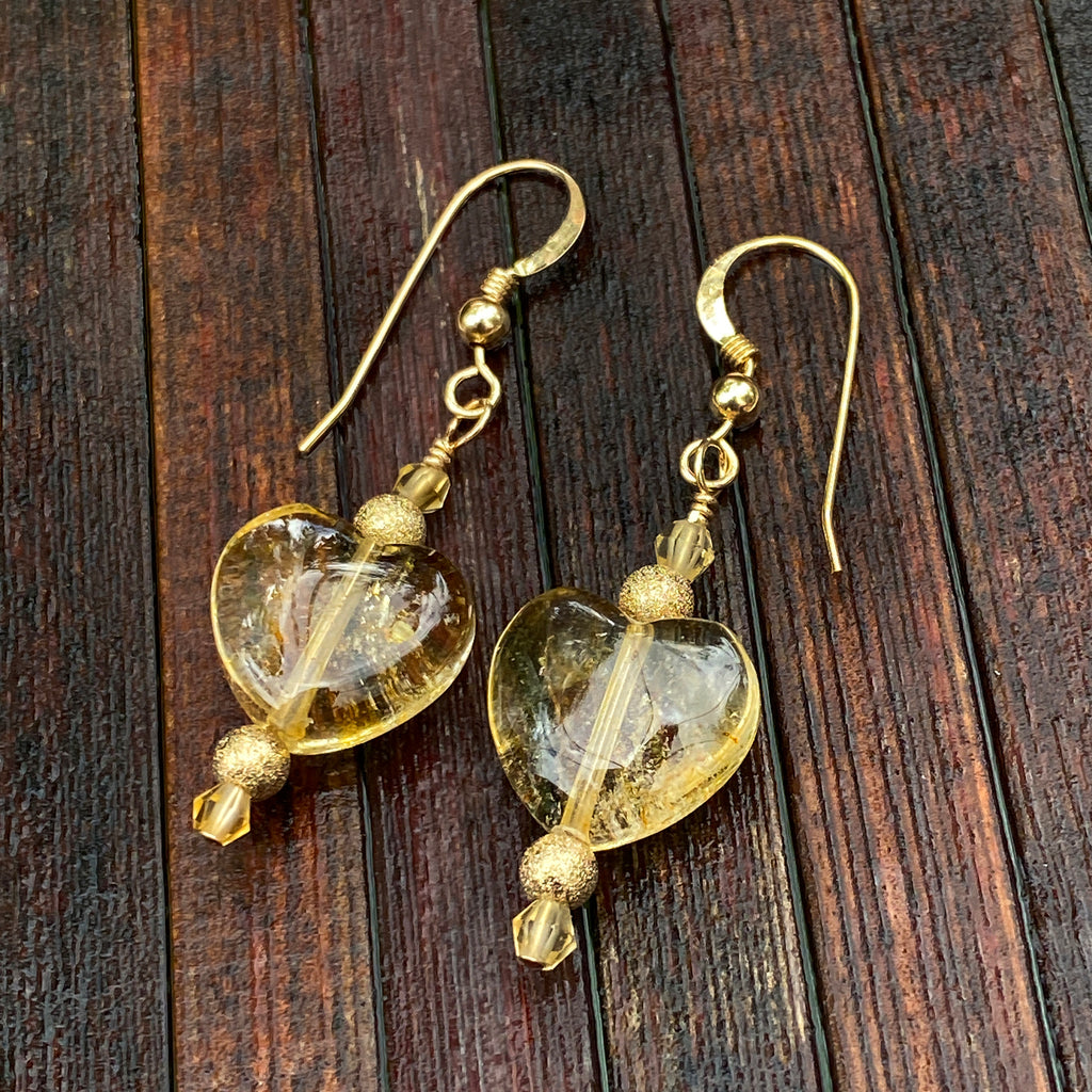 Heart Citrine and 14 kt gold fill drop earrings