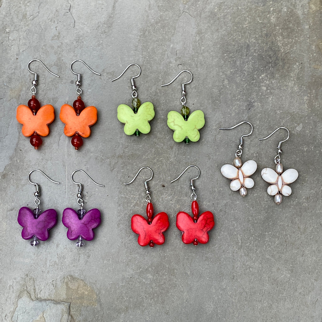 Women's Butterfly and Gemstone earrings