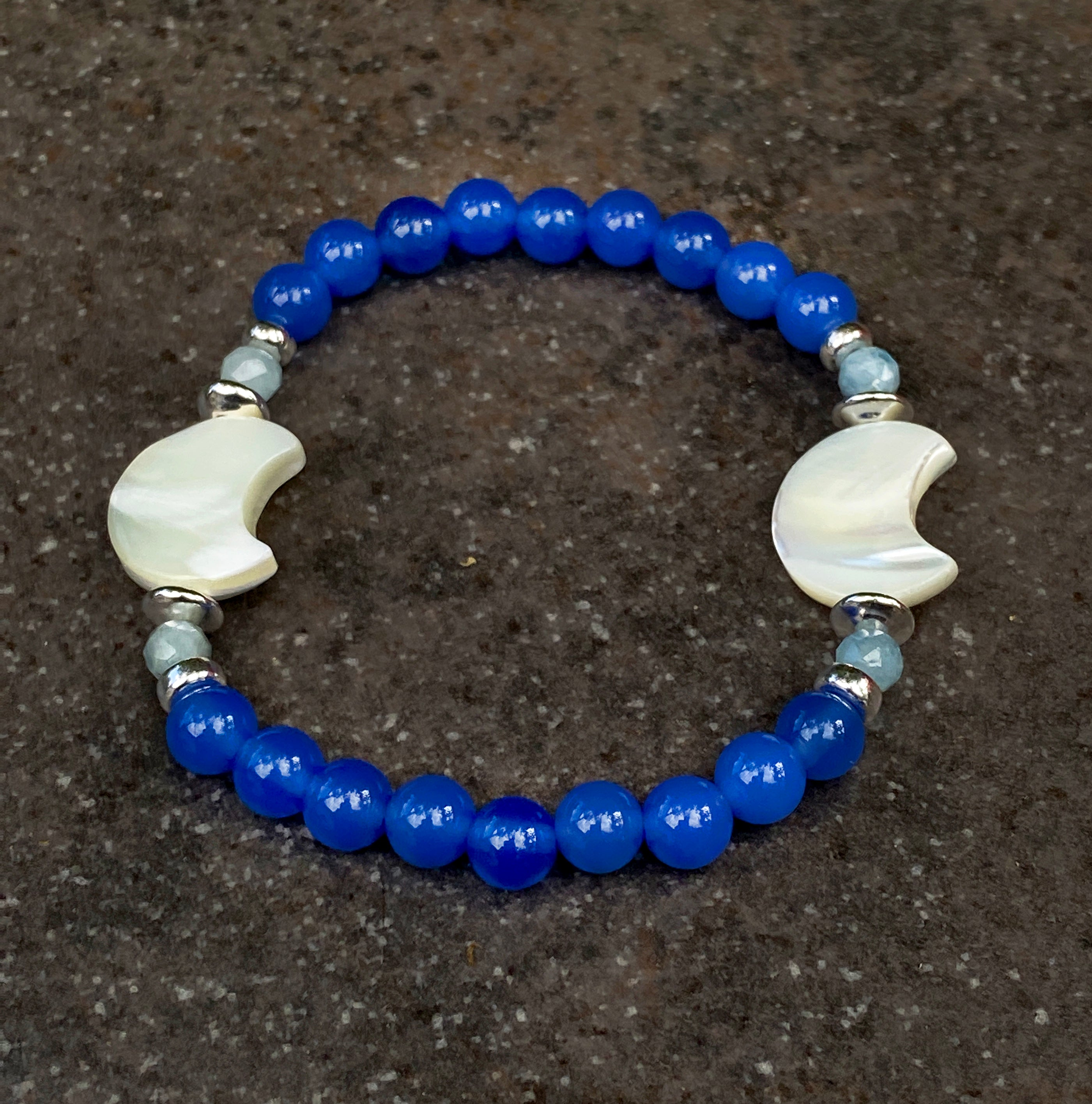 Women's Double mother of pearl Moon, Blue Onyx, Aquamarine Gemstone Bracelet