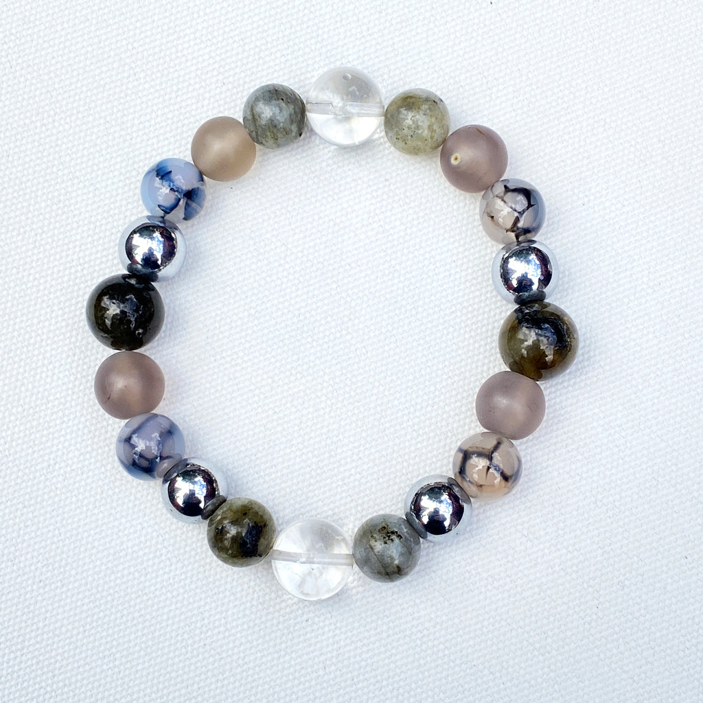 Men's clear Quartz Gematite, Dragons Vein Gray Agate and Labradorite Gemstone Bracelet