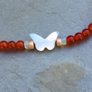 Mother of Pearl Butterfly, Red Onyx & Ethiopian Opal