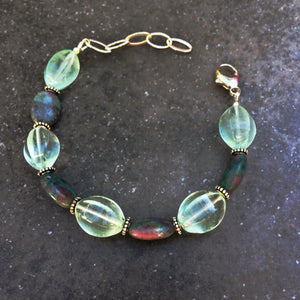 Women's Flourite and ruby zoisite Gemstone sterling silver Bracelet