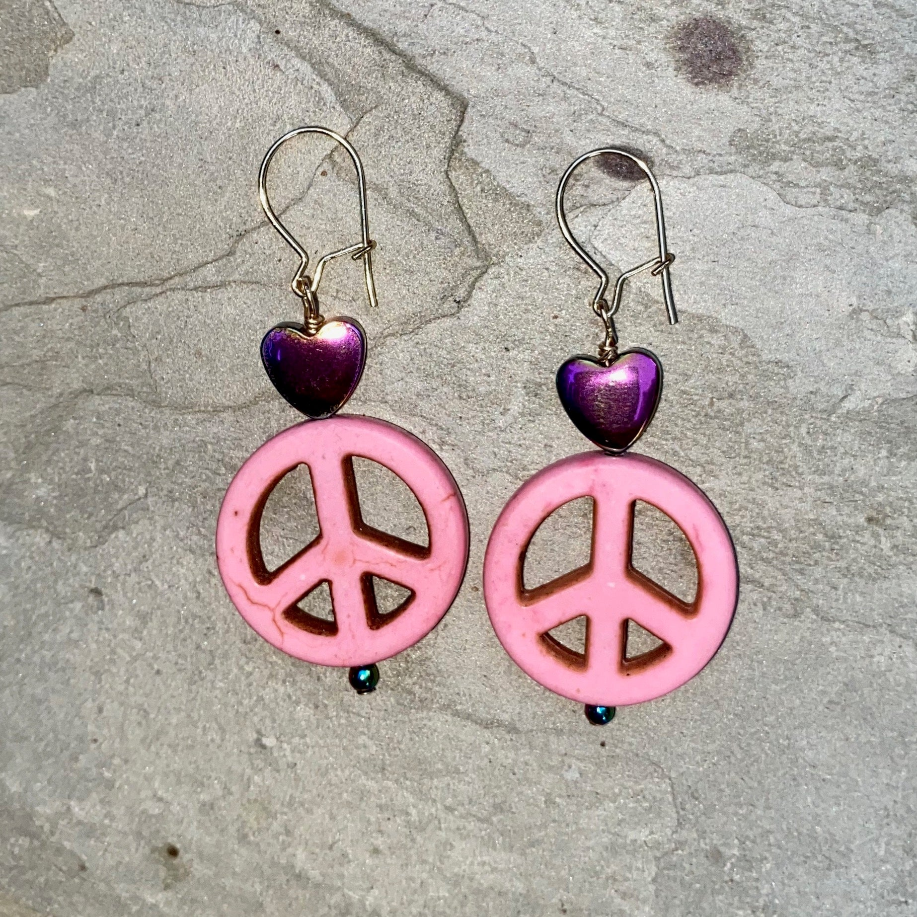 Howlite Peace Sign and Hematite Heart drop Earrings
