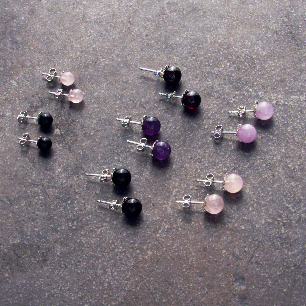 Gemstone and Sterling Silver Stud Earrings