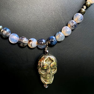 Men's Dragon's Vein Agate Gemstones with Pyrite Skull Pendant necklace