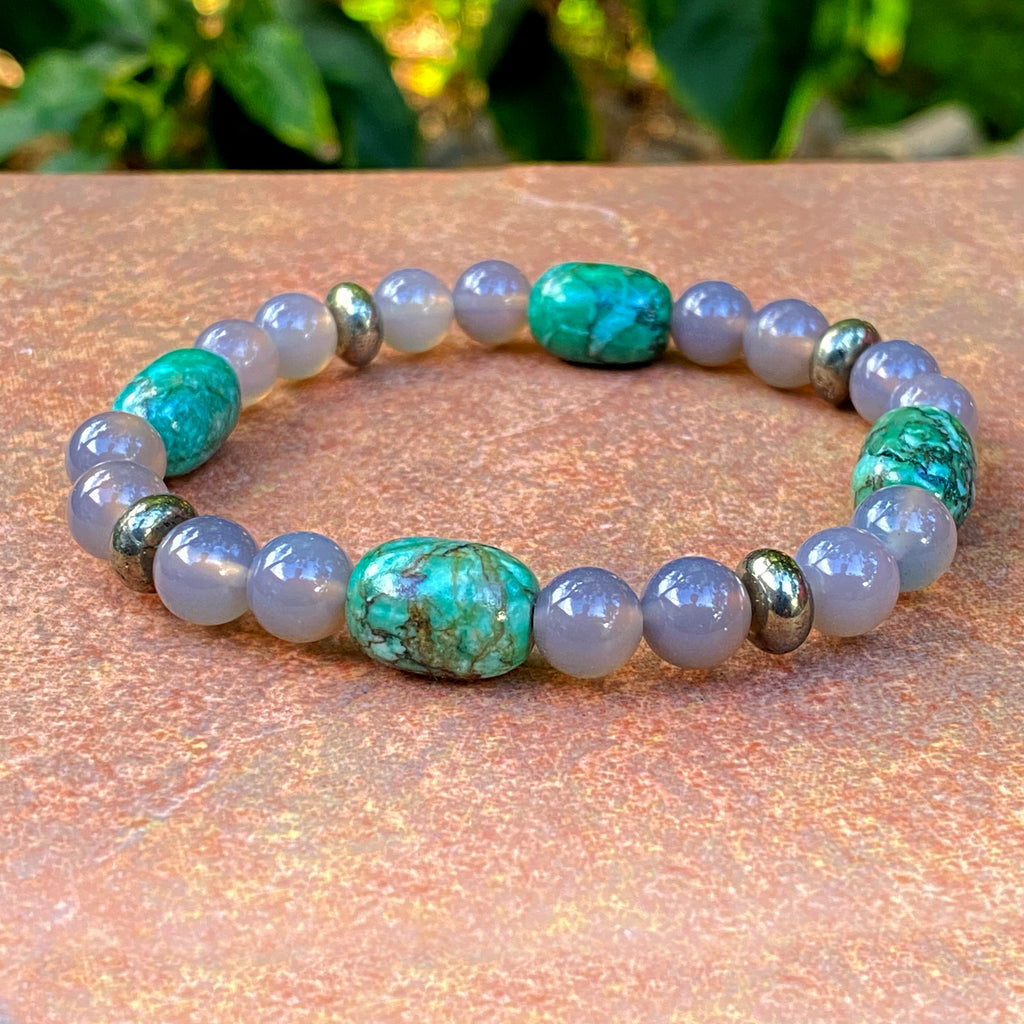 Gray Agate, Pyrite and Chrysoprase Gemstone stretch bracelet