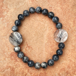 Men's Tourmalated Quartz & black Labradorite Gemstone Bracelet