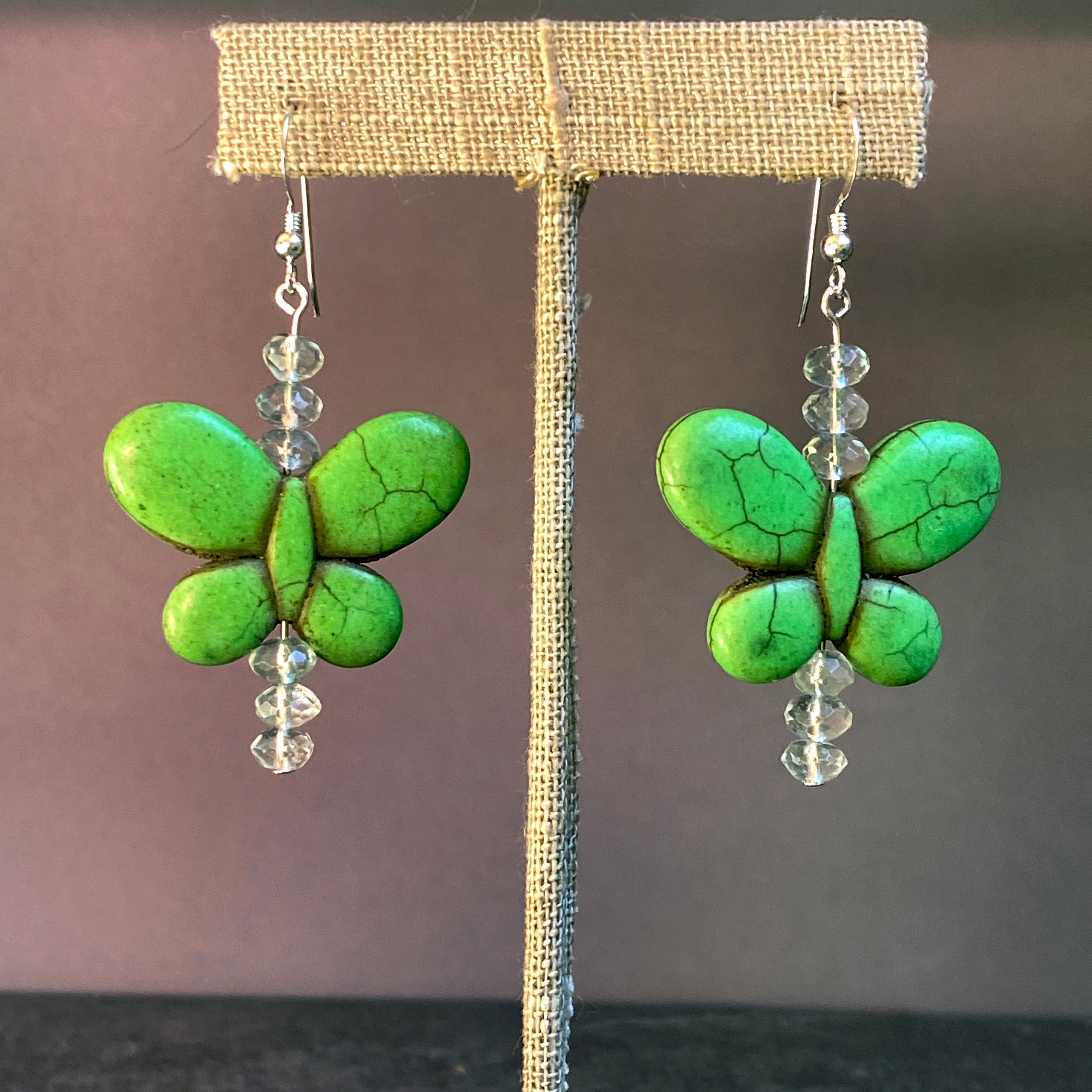 Bright Color Howlite and Gemstone Butterfly Earrings