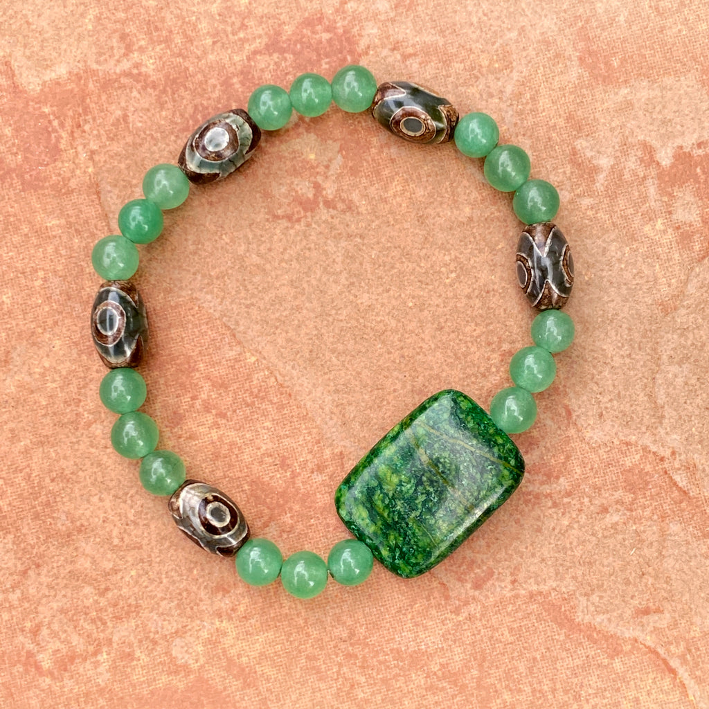 Unisex Green Gemstone with Aventurine & Tibetan Agate Gemstone Bracelet