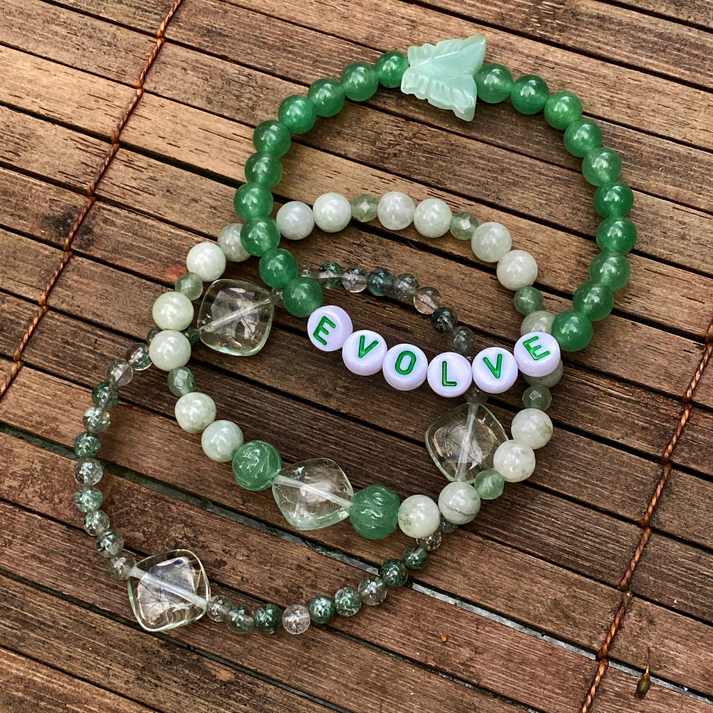 Three EVOLVE Gemstone Bracelet stack Aventurine, Burma Jade and Amazonite butterfly