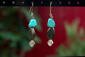 Pyrite and Turquoise Gemstone Earrings