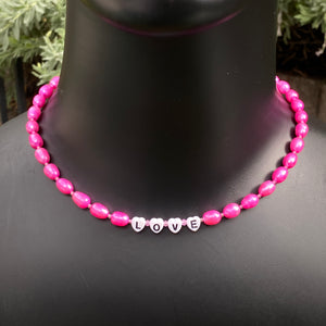 Women's Pink Freshwater Pearls & Pink Topaz, Pink Sapphire Gemstone Choker Necklace