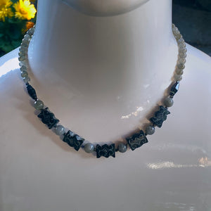Men's Labradorite, old black jade, and silver smoke jasper, and oxidized sterling silver necklace
