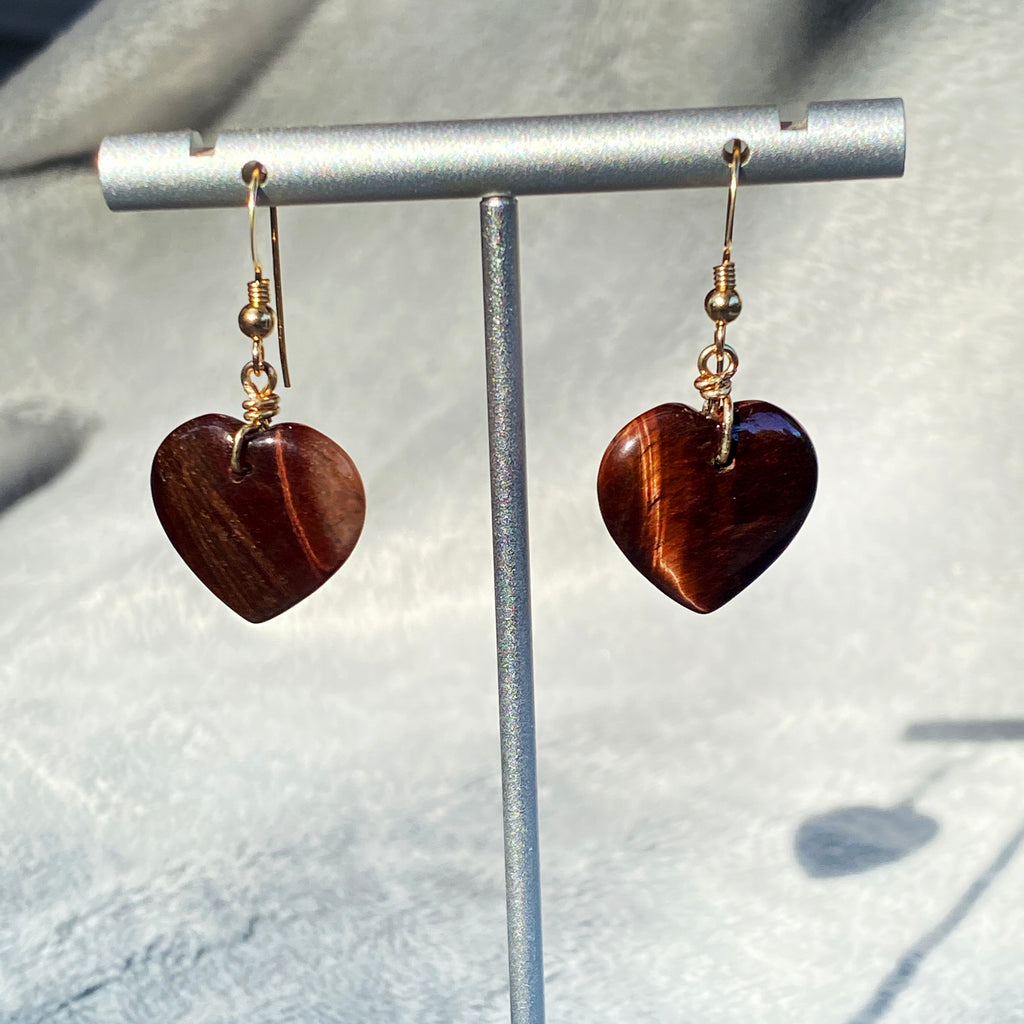 Tiger Eye large Heart Gemstone Drop Earrings