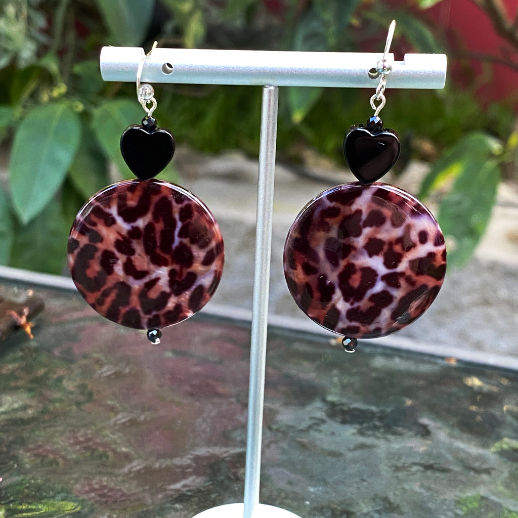 Leopard Print Mother of pearl, Spinel and Onyx hearts sterling silver drop earrings
