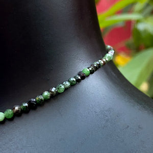 Women's Mother of Pearl Butterfly, Ruby and Ruby in Zoisite Gemstone choker necklace