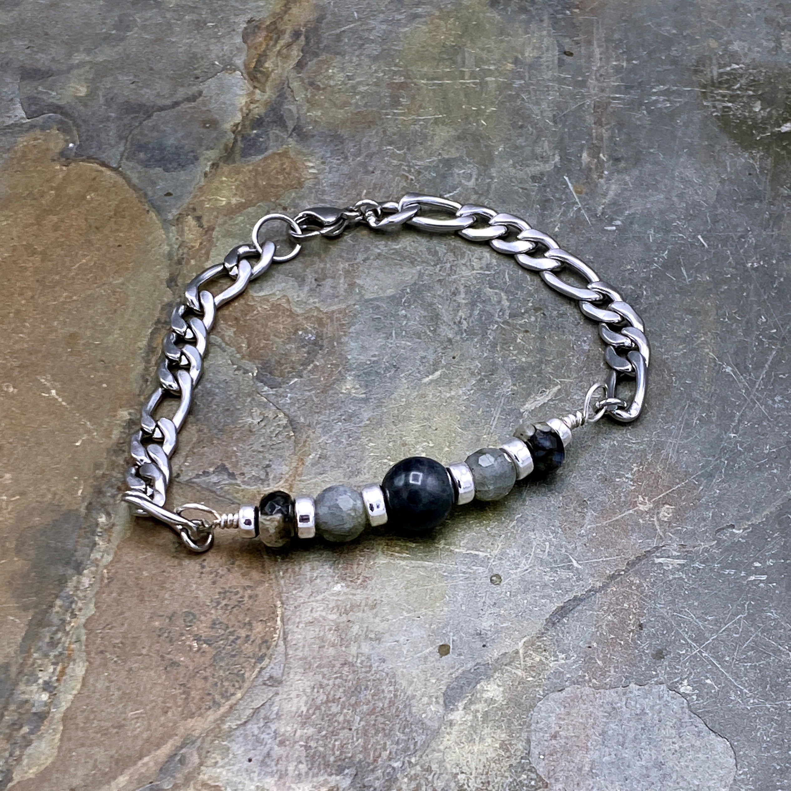 Men's Black Labradorite, Labradorite, Grey Opal, Sterling Silver and Stainless Steel Bracelet