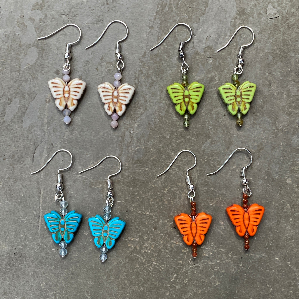 Mini Butterfly and Gemstone bohemian drop earrings