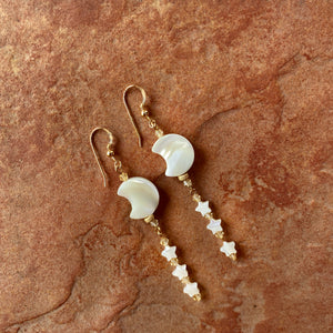 Mother of Pearl Moon & Stars with Citrine Gemstones drop earrings.