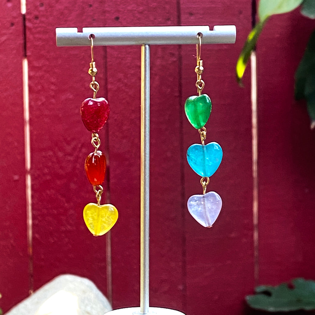 Rainbow Pride Jade Hearts Gemstone Earrings