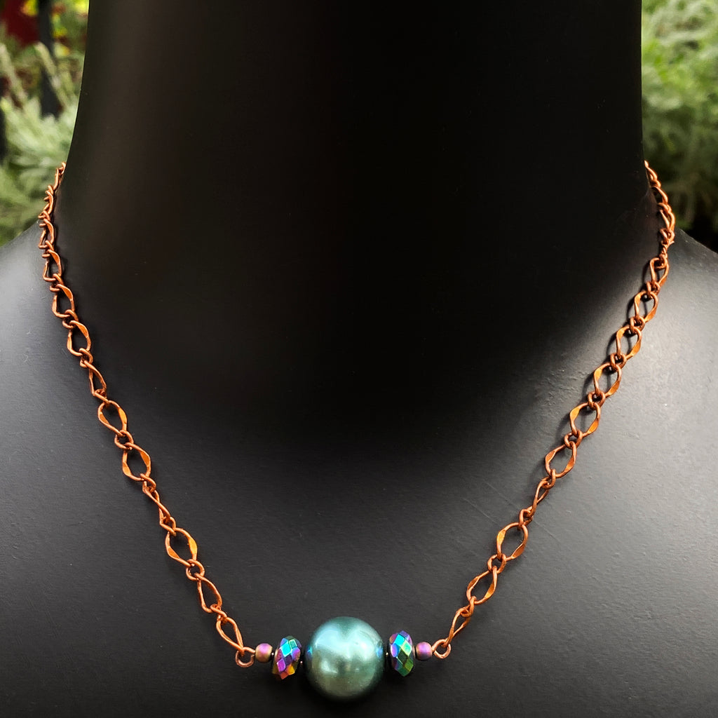 Women's Mother of Pearl Copper Chain Necklace