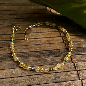 Golden Rutile Quartz Gemstone and fresh water Pearls Anklet