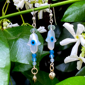 Mother of Pearl Hamsa, fluorite, apatite, blue topaz, aquamarine Gemstone Earrings