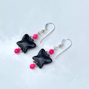 Black Obsidian Butterfly with hot Pink Agate & sterling silver drop earrings