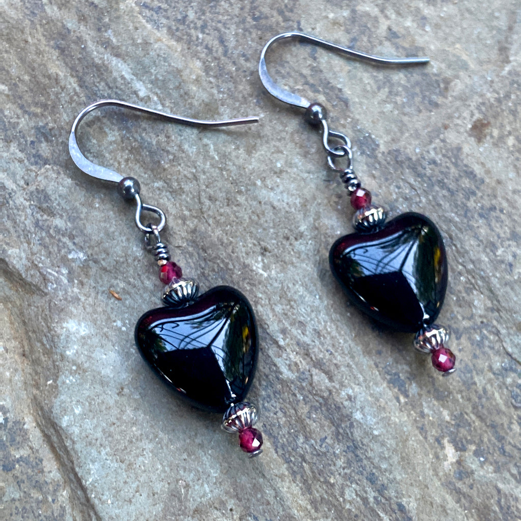 Obsidian Gemstone hearts with oxidized sterling silver and garnets or moonstones