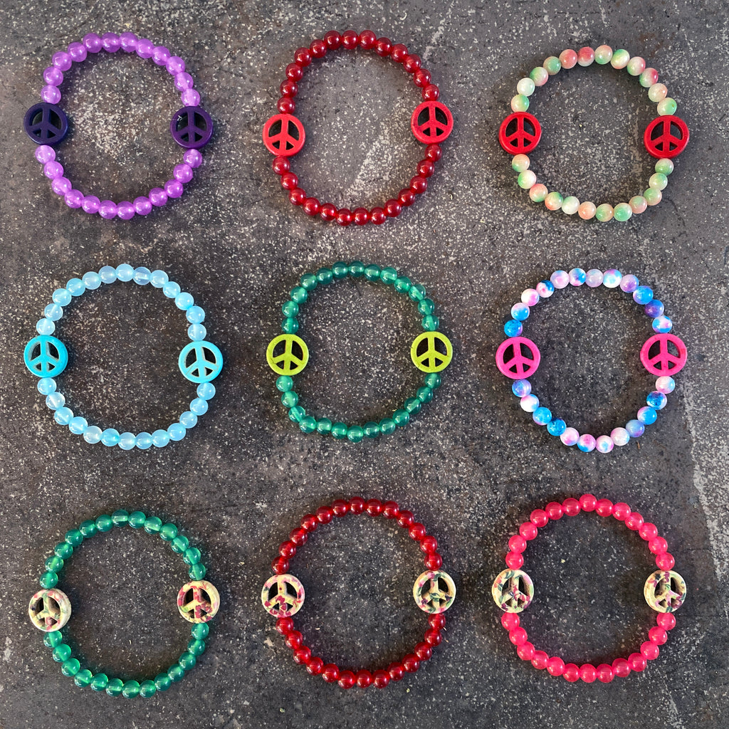 Women's Various Colored Jade Gemstone Peace Sign Bracelets