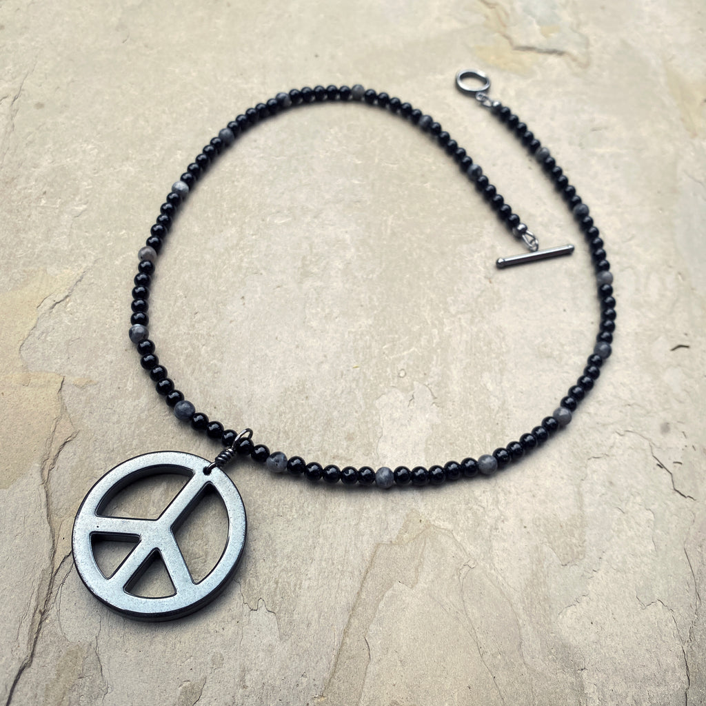 Men's Onyx, Labradorite & Hematite Gemstone with Peace Sign pendant necklace