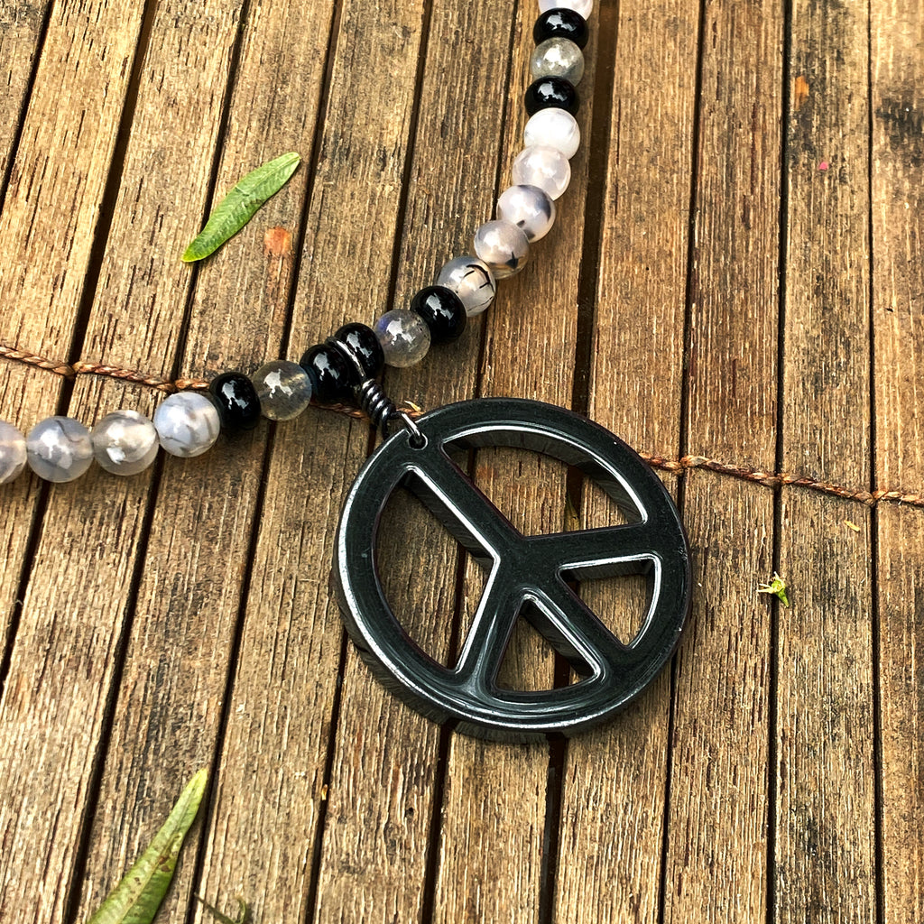 Men's Onyx & black Labradorite with Hematite Gemstone Peace Sign pendant necklace