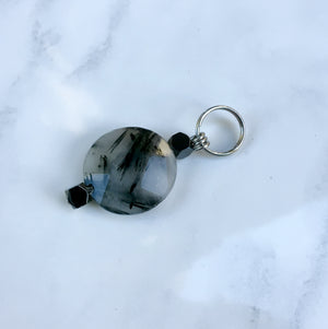 Pet Charm with Toumalated Quartz and Hematite Gemstones