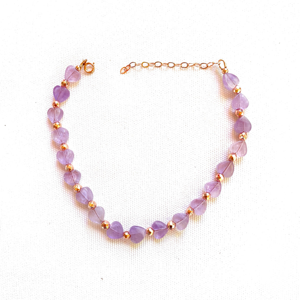 Amethyst Heart and Rose Hematite anklet w/ 14 kt gf Clasp and Chain