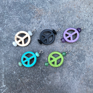 Pet Charm with Peace Signs & various Gemstone