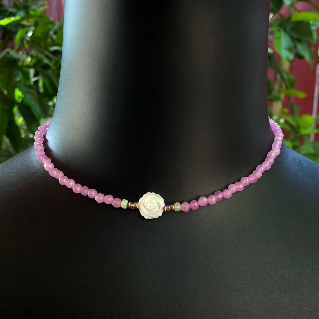 Women's Pink Agate, Opal Gemstone with Mother of Pearl Rose Choker necklace