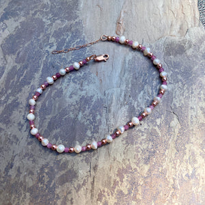 Women's Hematite, Pink Tourmaline and Freshwater Pearl Anklet