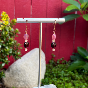 Gemstone earrings with Pink Sapphire, Rose Quartz & Garnet Heart