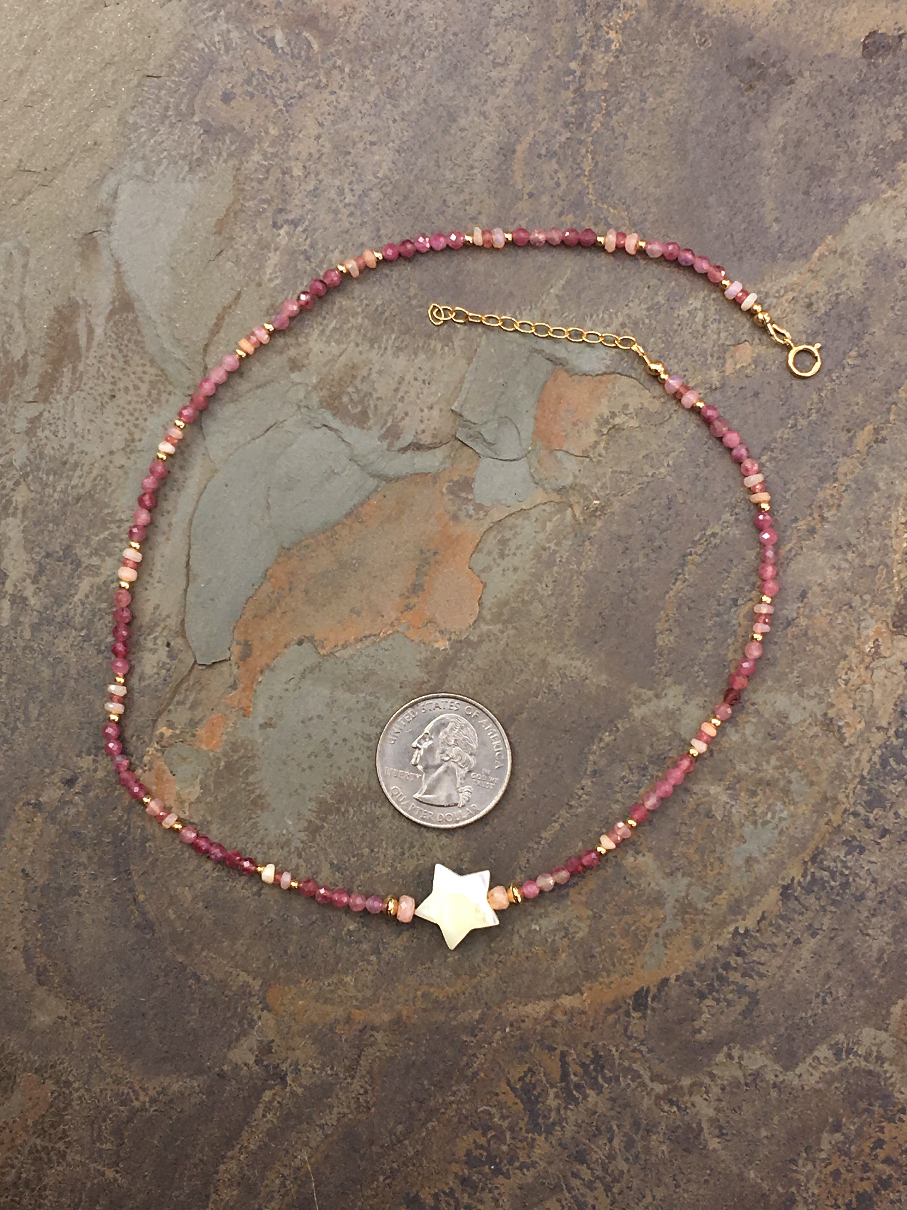 Women's Pink Opal, Tourmaline Gemstone with Sapphires and Mother Of Pearl Star Choker necklace