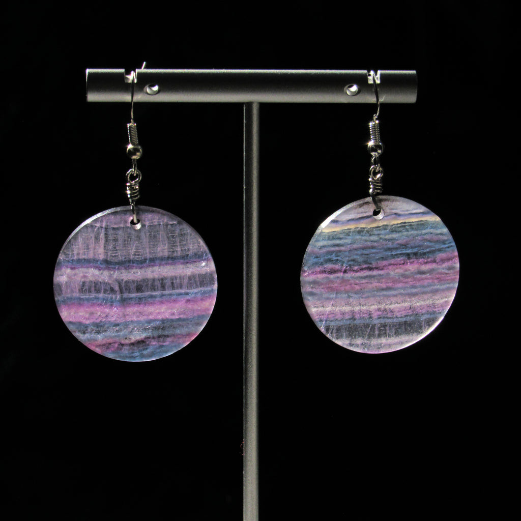 Rainbow Fluorite gemstone disk earrings.