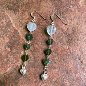 Women's Aquamarine and Labradorite heart earrings with sterling silver hearts